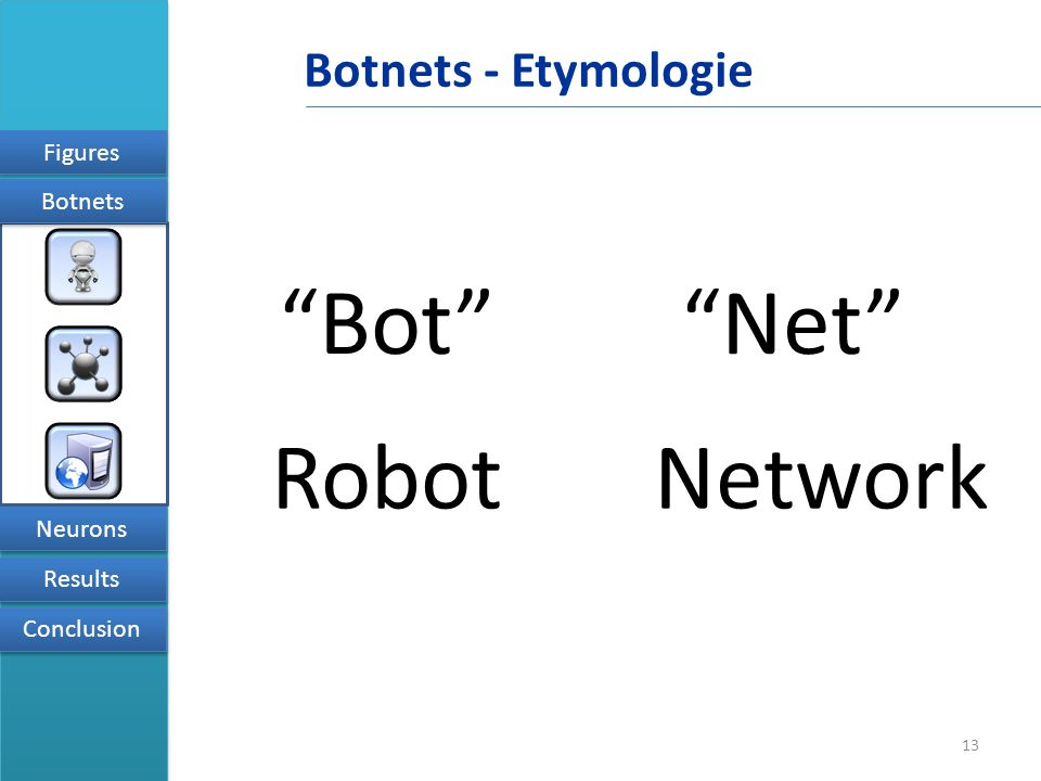 13 Figures Results Conclusion Neurons Botnets Botnets - Etymologie Bot Net RobotNetwork