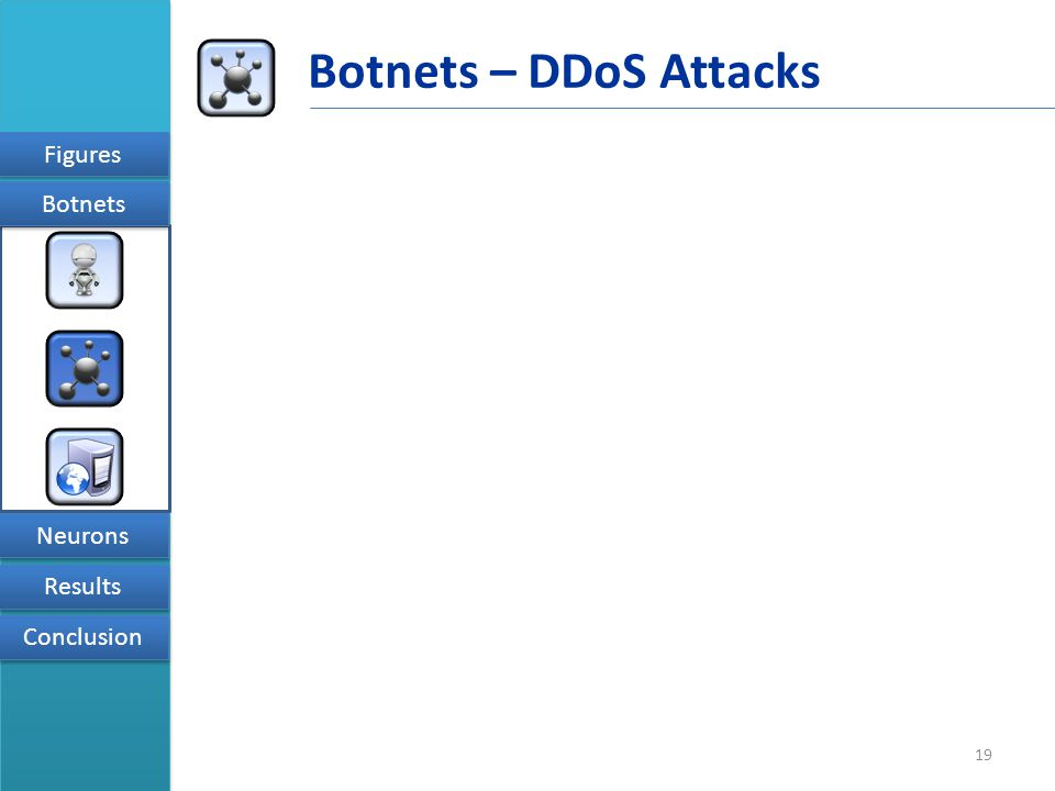 19 Figures Results Conclusion Neurons Botnets Botnets – DDoS Attacks
