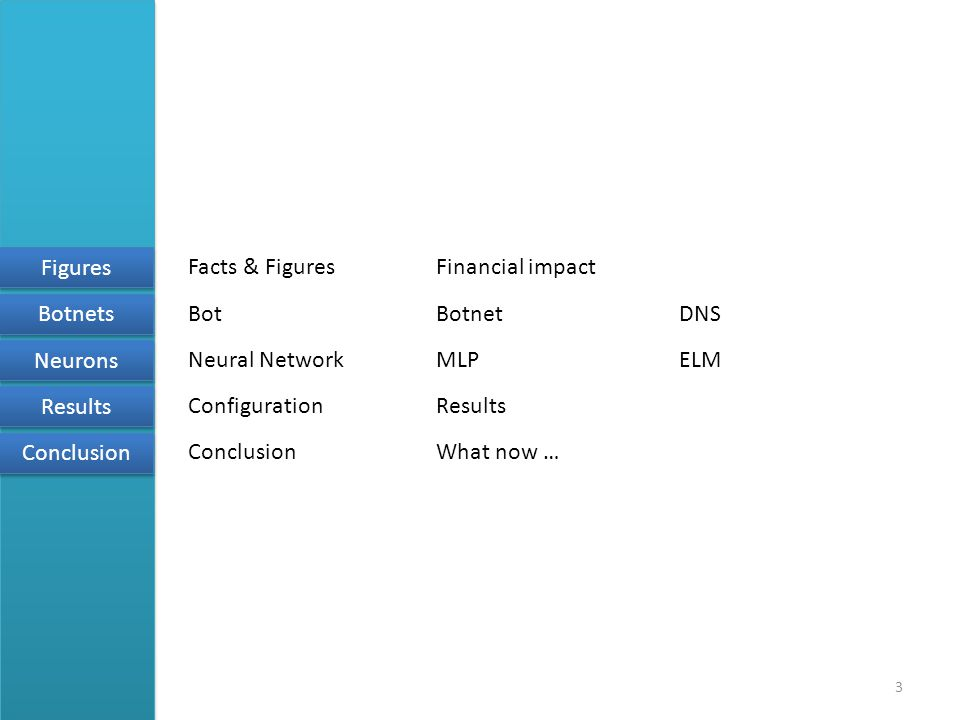 3 Figures Botnets Neurons Results Conclusion BotBotnetDNS Neural NetworkMLPELM ConfigurationResults ConclusionWhat now … Facts & FiguresFinancial impact