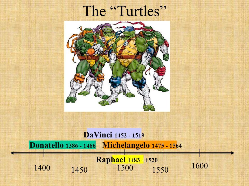 "The ""Turtles"" 14501550 15001400 1600 Donatello 1386 - 1466 DaVinci 1452 - 1519 Michelangelo 1475 - 1564 Raphael 1483 - 1520"