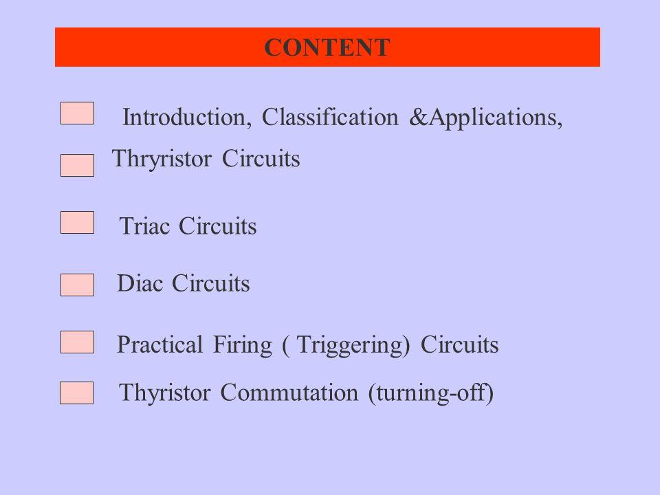 Diac Circuits Triac Circuits Thryristor Circuits CONTENT Introduction, Classification &Applications, Practical Firing ( Triggering) Circuits Thyristor
