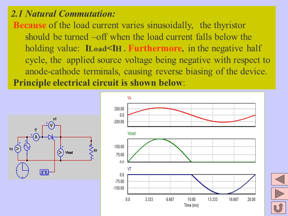 2.1 Natural Commutation: Because of the load current varies sinusoidally, the thyristor should be turned –off when the load current falls below the ho
