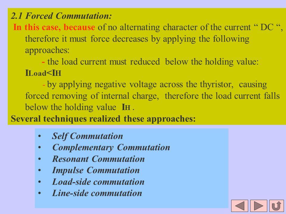 Self Commutation Complementary Commutation Resonant Commutation Impulse Commutation Load-side commutation Line-side commutation 2.1 Forced Commutation