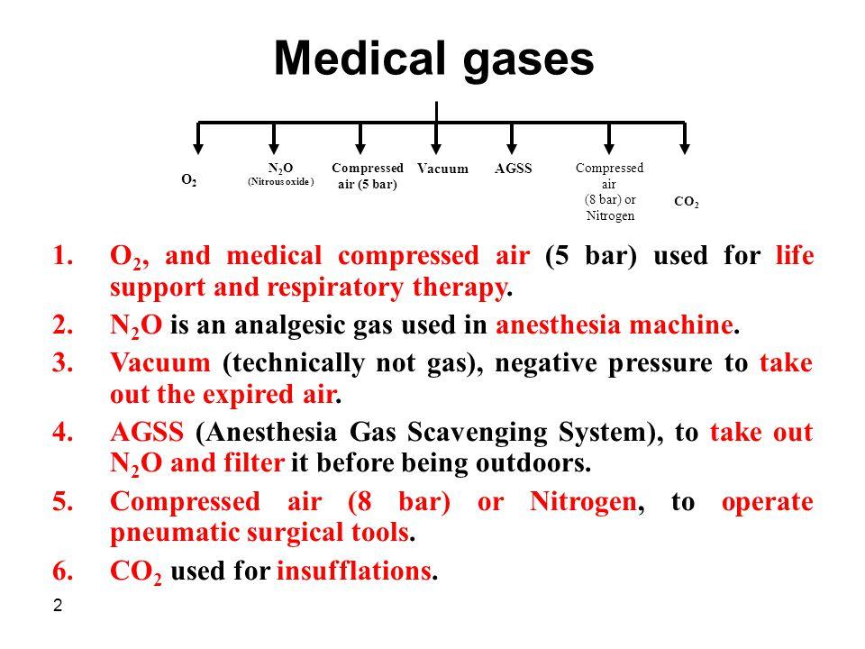 2 Medical gases Compressed air (5 bar) N 2 O (Nitrous oxide ) Vacuum Compressed air (8 bar) or Nitrogen AGSS 1.O 2, and medical compressed air (5 bar)