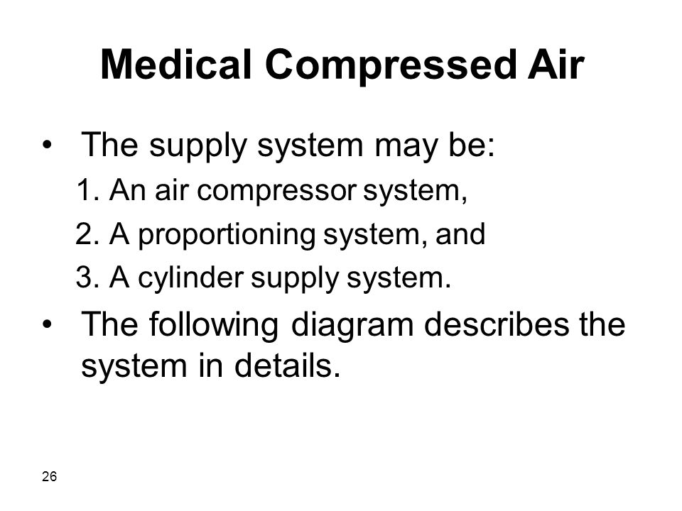 26 Medical Compressed Air The supply system may be: 1.An air compressor system, 2.A proportioning system, and 3.A cylinder supply system. The followin