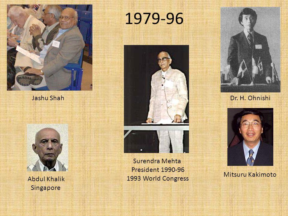 1979-96 Abdul Khalik Singapore Jashu Shah Surendra Mehta President 1990-96 1993 World Congress Dr.