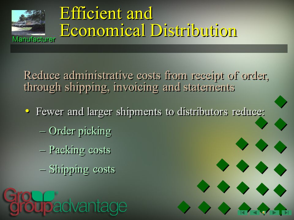 Manufacturer Efficient and Economical Distribution Consolidated early orders