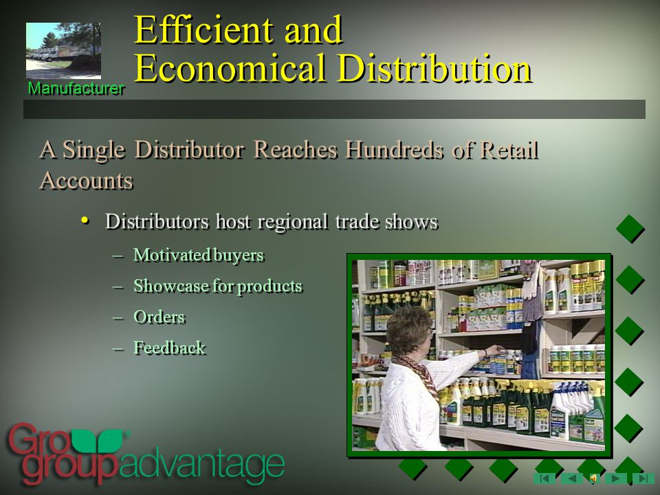 Distributors can effectively introduce new products to independent retailers Manufacturer A Single Distributor Reaches Hundreds of Retail Accounts Efficient and Economical Distribution Distributors know market conditions in their territories Distributor salespeople and support staff work regularly with their customers with merchandising and advertising programs