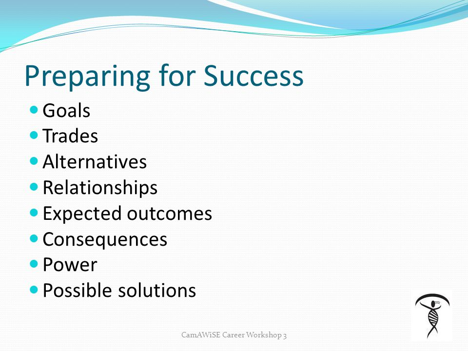Preparing for Success Goals Trades Alternatives Relationships Expected outcomes Consequences Power Possible solutions CamAWiSE Career Workshop 3