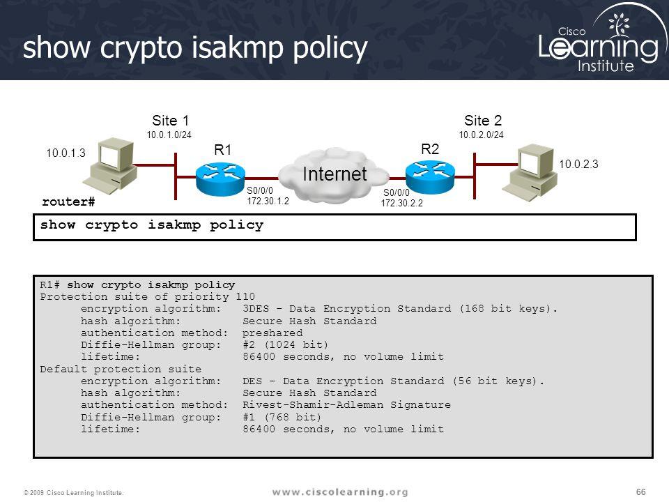 66 © 2009 Cisco Learning Institute. show crypto isakmp policy R1# show crypto isakmp policy Protection suite of priority 110 encryption algorithm: 3DE