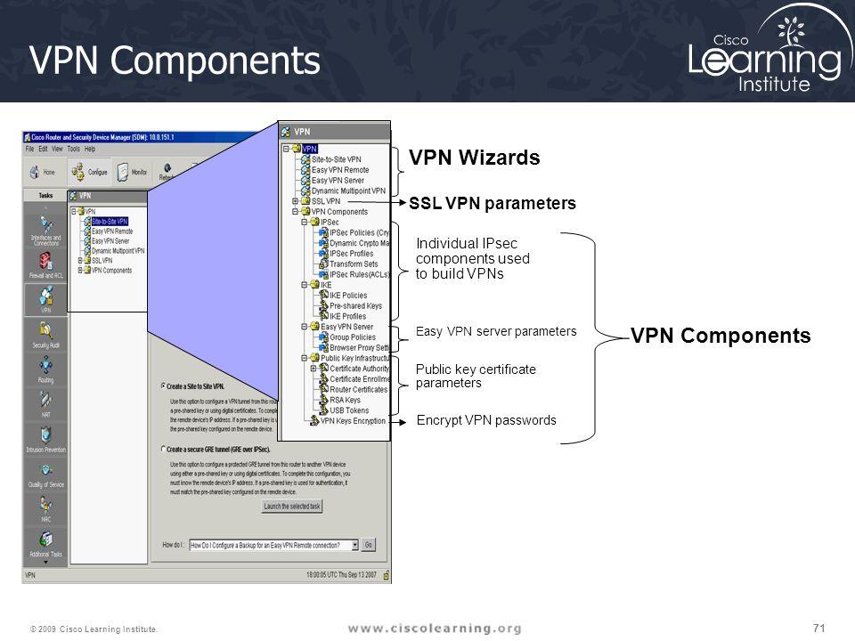 71 © 2009 Cisco Learning Institute. VPN Components Individual IPsec components used to build VPNs VPN Wizards SSL VPN parameters Easy VPN server param