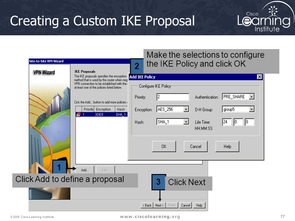 77 © 2009 Cisco Learning Institute. Creating a Custom IKE Proposal 1 2 3 Click Add to define a proposal Make the selections to configure the IKE Polic