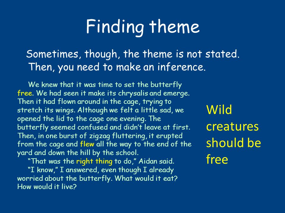 Finding theme Sometimes, though, the theme is not stated.