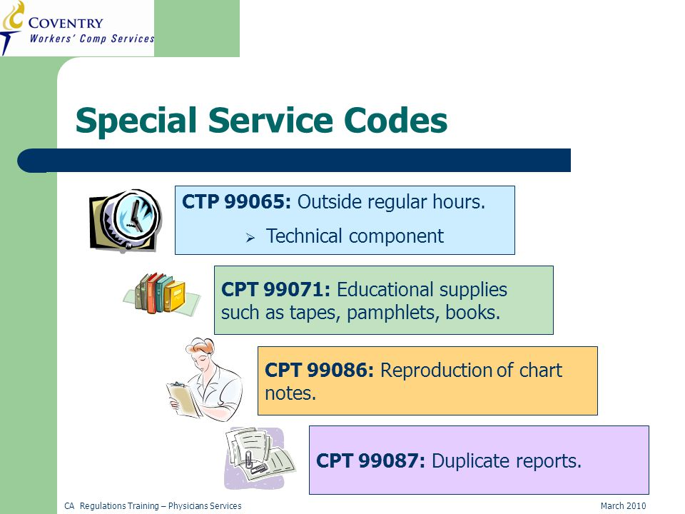 CA Regulations Training – Physicians ServicesMarch 2010 Special Service Codes CTP 99065: Outside regular hours.
