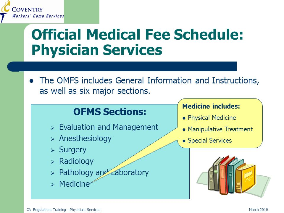 CA Regulations Training – Physicians ServicesMarch 2010 Official Medical Fee Schedule: Physician Services The OMFS includes General Information and Instructions, as well as six major sections.