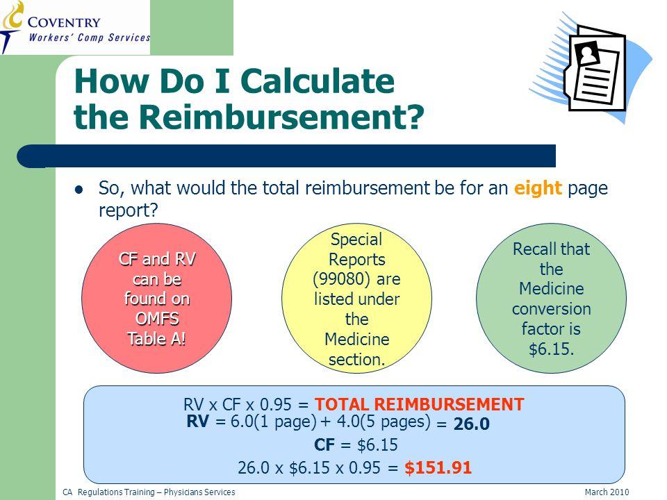CA Regulations Training – Physicians ServicesMarch 2010 How Do I Calculate the Reimbursement.