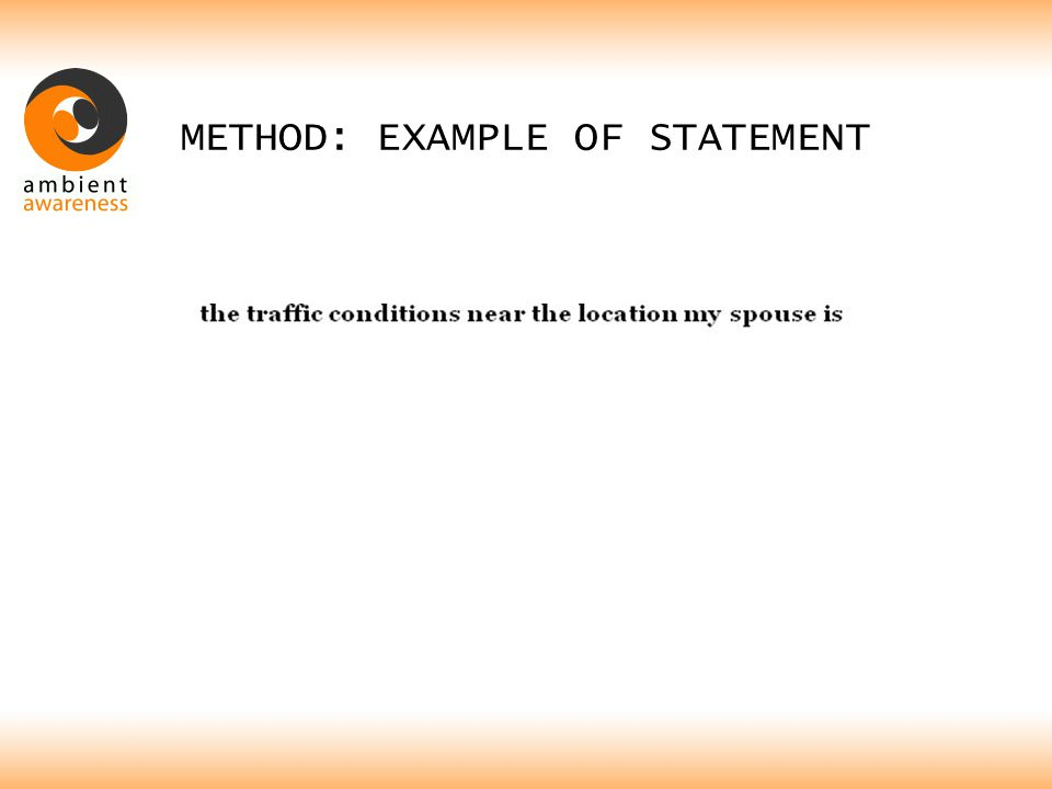 METHOD: EXAMPLE OF STATEMENT