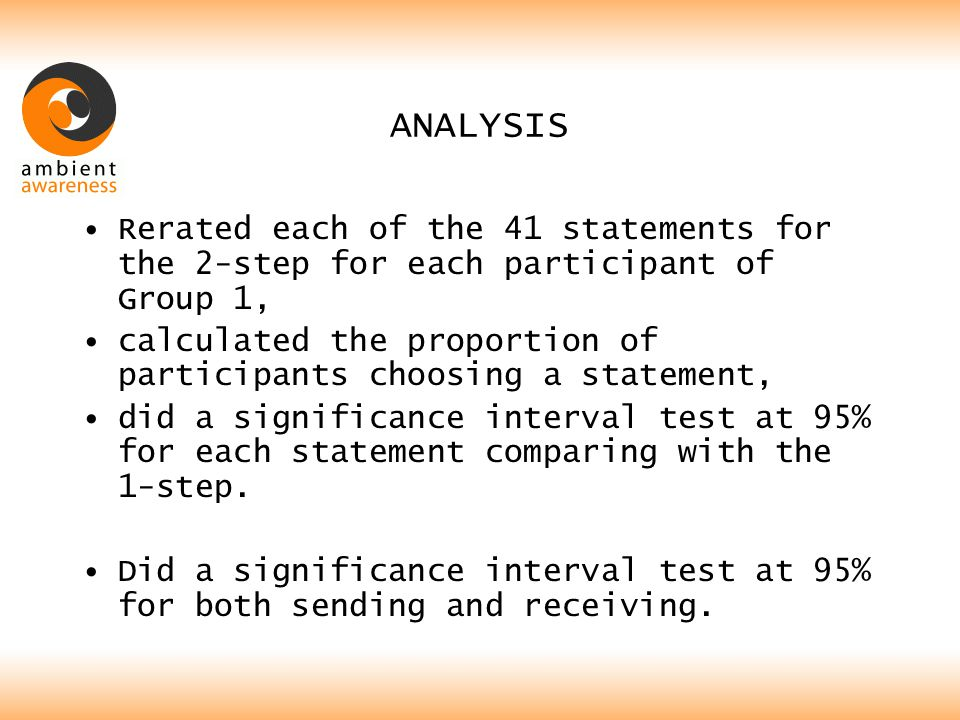 ANALYSIS Rerated each of the 41 statements for the 2-step for each participant of Group 1, calculated the proportion of participants choosing a statement, did a significance interval test at 95% for each statement comparing with the 1-step.