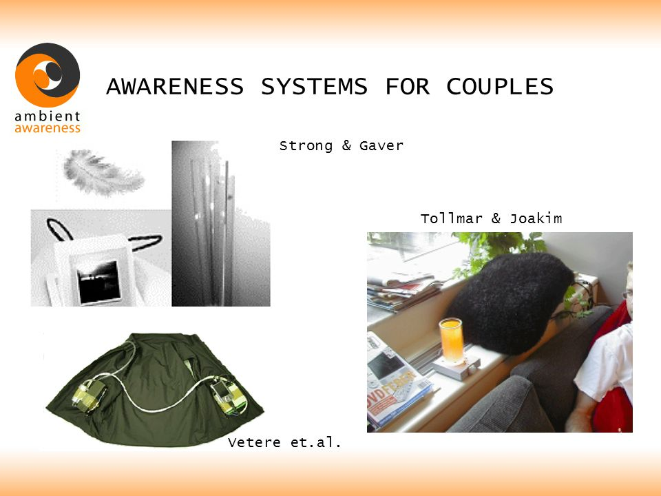AWARENESS SYSTEMS FOR COUPLES Strong & Gaver Tollmar & Joakim Vetere et.al.