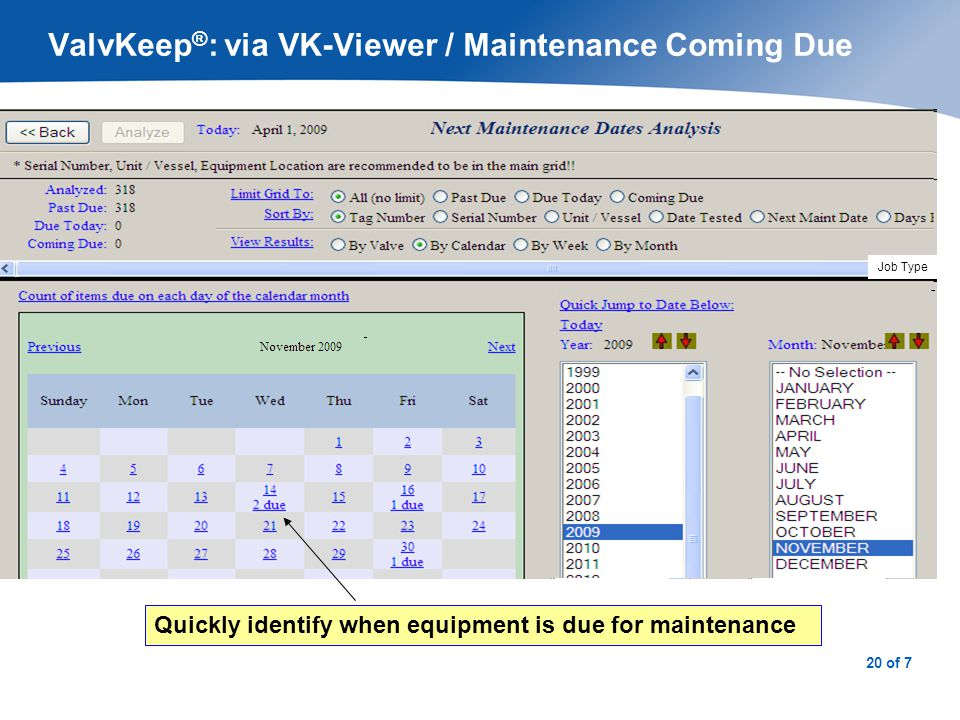 21 of 7 ValvKeep ® : via VK-Viewer / To-Do List Important TO-DOs viewable – a reminder list of tasks associated with current and future events.
