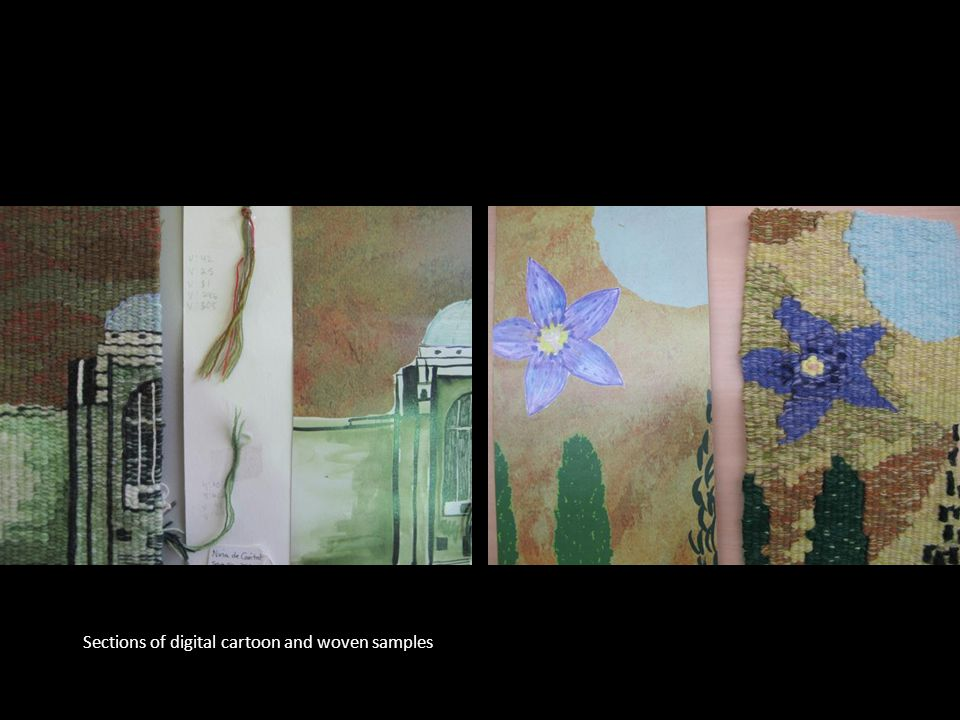 v Sections of digital cartoon and woven samples