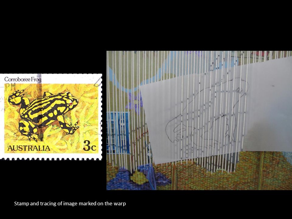 Stamp and tracing of image marked on the warp
