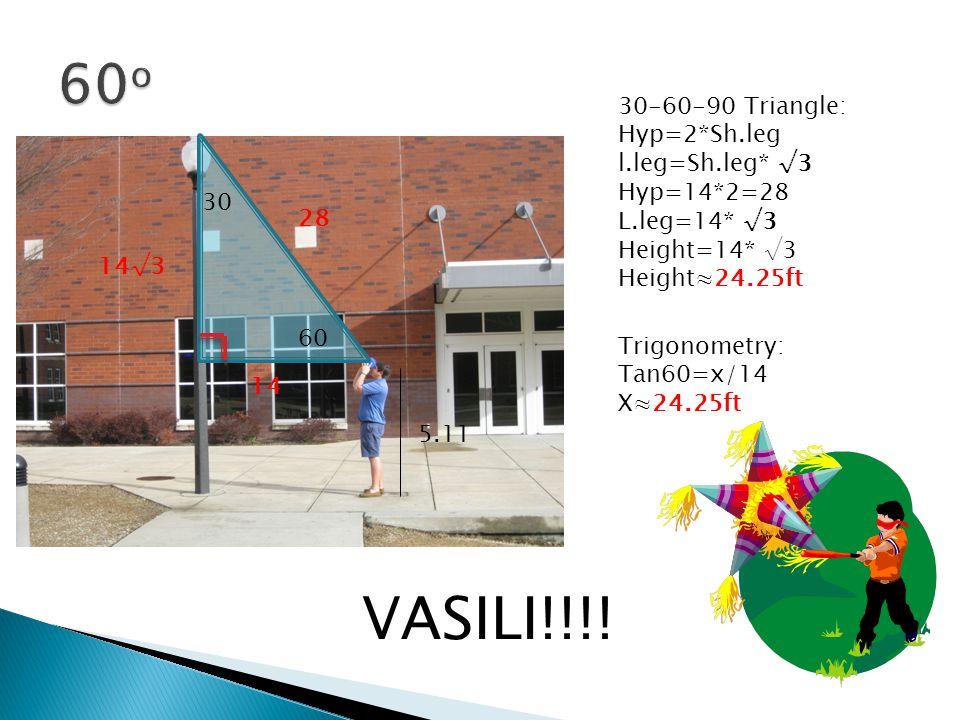 60 30 30-60-90 Triangle: Hyp=2*Sh.leg l.leg=Sh.leg* √3 Hyp=14*2=28 L.leg=14* √3 Height=14* √3 Height≈24.25ft 5.11 14 28 14√3 Trigonometry: Tan60=x/14 X≈24.25ft VASILI!!!!
