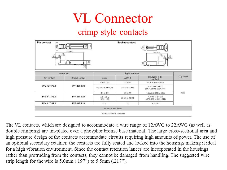VL Connector crimp style contacts The VL contacts, which are designed to accommodate a wire range of 12AWG to 22AWG (as well as double crimping) are tin-plated over a phosphor bronze base material.