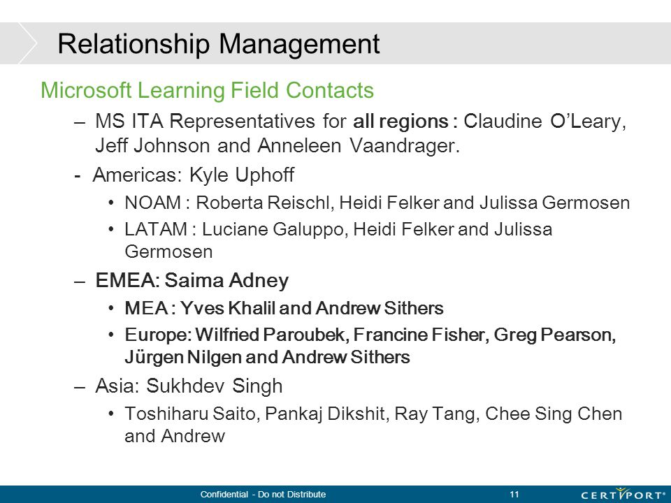 Confidential - Do not Distribute11 Relationship Management Microsoft Learning Field Contacts –MS ITA Representatives for all regions : Claudine O'Lear