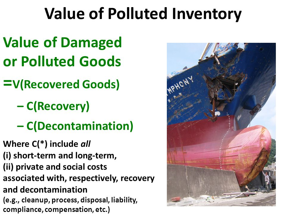 Specific Example: Total Costs of Emergency Coolant Private and Social Short-Term and Long-Term Total Costs associated with Coolant = Cost of Coolant + Cost of Delivery + Cost of Fire Fighting Operation + Cost of Radioactive Air Emission Abatement + Cost of Radioactive Soil Pollutant Decontamination + Cost of Radioactive Water Effluent Processing + Cost of Facility Clean Up + Cost of Facility Decommissioning + Cost of Long Term Monitoring + Cost of Compensation + Cost of Business Interruption + …
