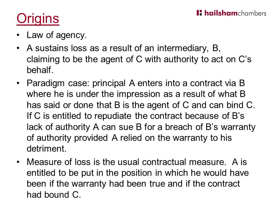 Origins Law of agency.