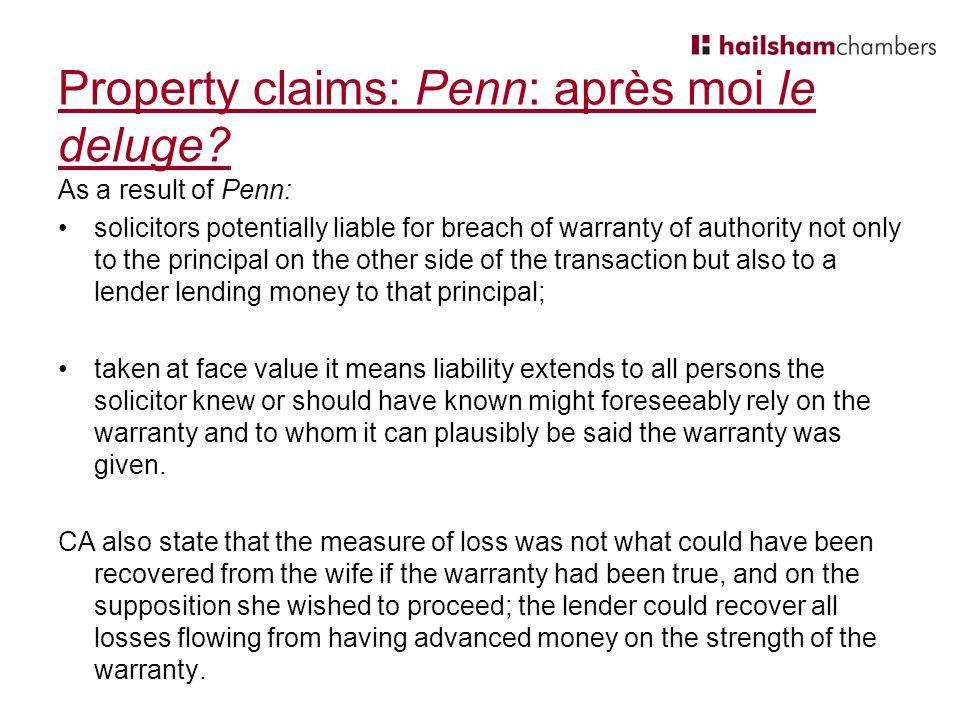 Property claims: Penn: après moi le deluge.
