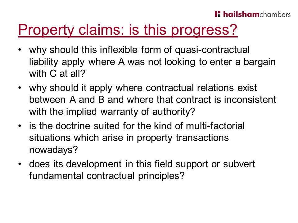 Property claims: is this progress.