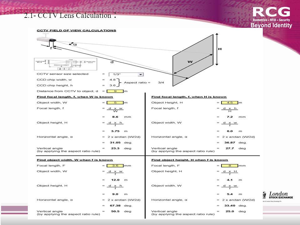2.1- CCTV Lens Calculation :