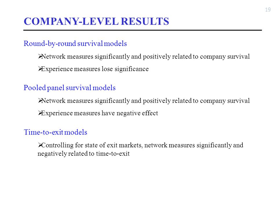 19 COMPANY-LEVEL RESULTS Round-by-round survival models  Network measures significantly and positively related to company survival  Experience measu