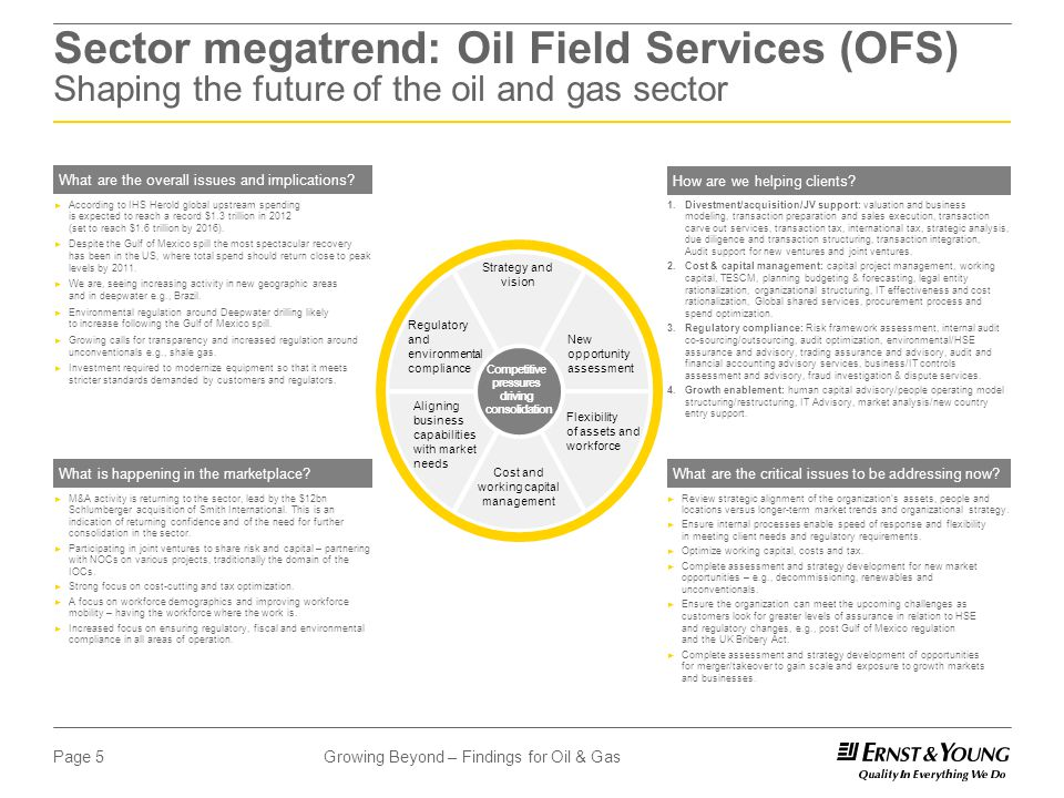 Growing Beyond – Findings for Oil & GasPage 5 Sector megatrend: Oil Field Services (OFS) Shaping the future of the oil and gas sector What are the overall issues and implications.