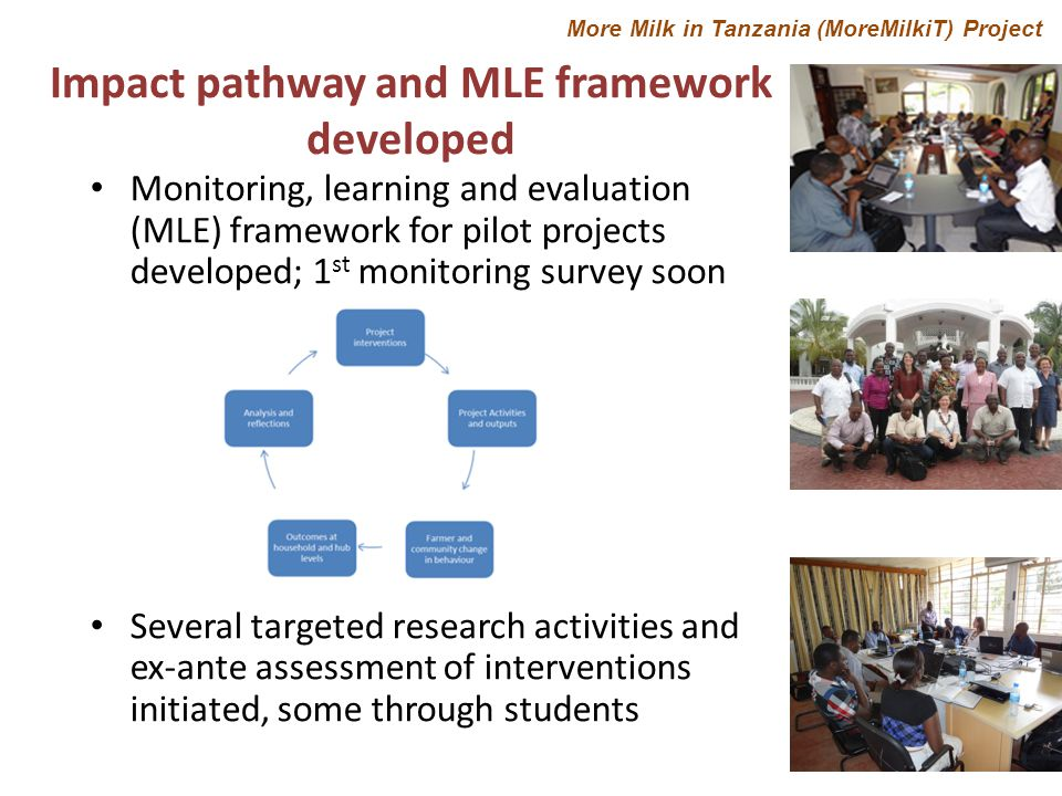 Monitoring, learning and evaluation (MLE) framework for pilot projects developed; 1 st monitoring survey soon Several targeted research activities and ex-ante assessment of interventions initiated, some through students Impact pathway and MLE framework developed More Milk in Tanzania (MoreMilkiT) Project