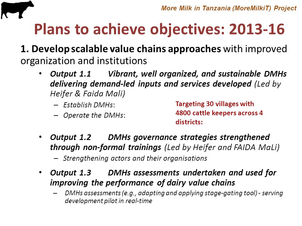 Plans to achieve objectives: 2013-16 2.