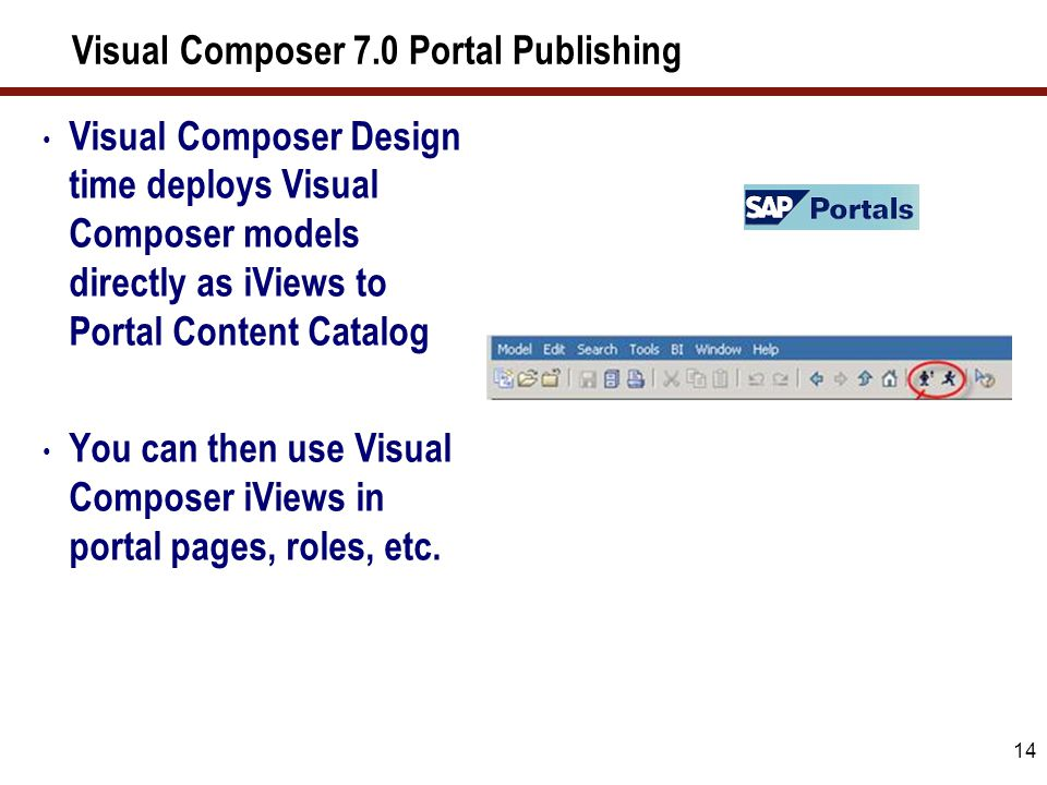 14 Visual Composer 7.0 Portal Publishing Visual Composer Design time deploys Visual Composer models directly as iViews to Portal Content Catalog You c