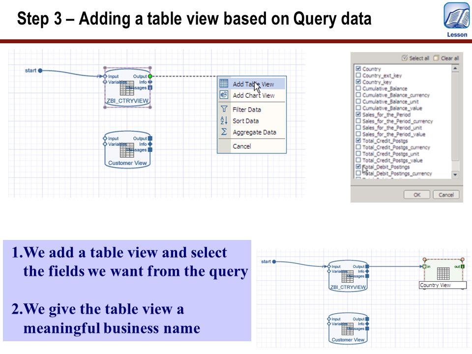 Step 3 – Adding a table view based on Query data 1.We add a table view and select the fields we want from the query 2.We give the table view a meaning