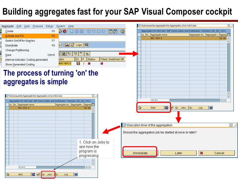 Building aggregates fast for your SAP Visual Composer cockpit The process of turning 'on' the aggregates is simple