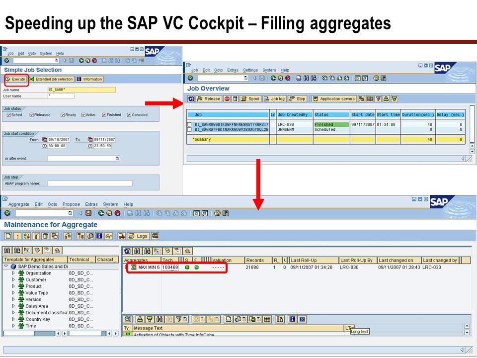 Speeding up the SAP VC Cockpit – Filling aggregates