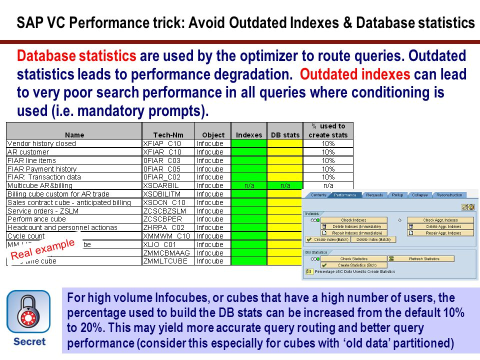 SAP VC Performance trick: Avoid Outdated Indexes & Database statistics Database statistics are used by the optimizer to route queries. Outdated statis