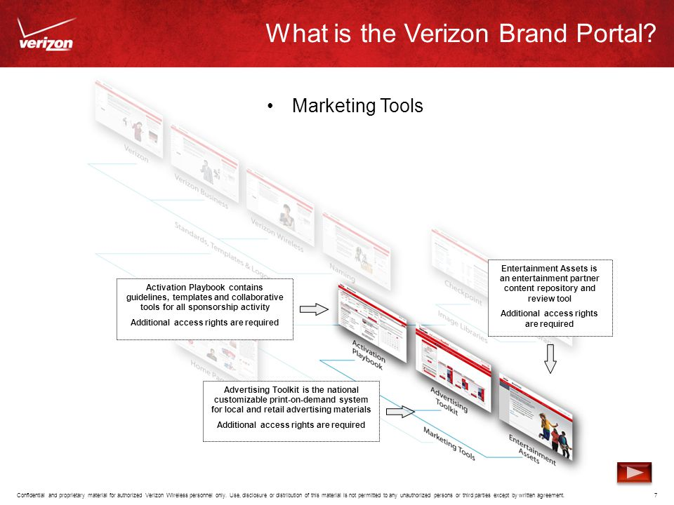 What is the Verizon Brand Portal? Marketing Tools Confidential and proprietary material for authorized Verizon Wireless personnel only. Use, disclosur