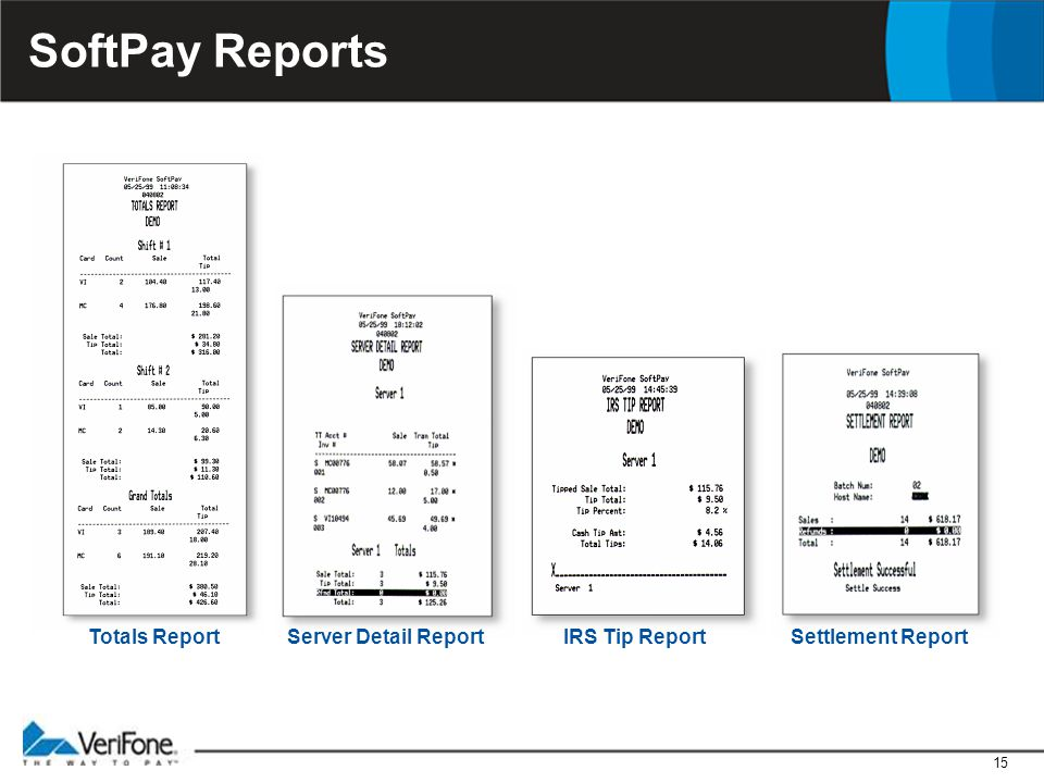 15 SoftPay Reports Settlement ReportIRS Tip ReportServer Detail ReportTotals Report