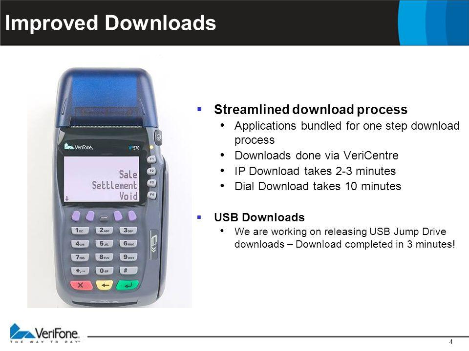 4 Improved Downloads  Streamlined download process Applications bundled for one step download process Downloads done via VeriCentre IP Download takes