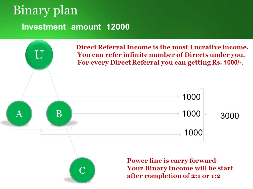 Binary plan Investment top-up amount can be multiple 10000 U U A B 5000 2000 9000 2000050000 10% Weekly Saturday mid night 12am cutoff weekly capping per id - 1,75,000 TDS – 10%, admin charge 7% Balance 30000 carry forward