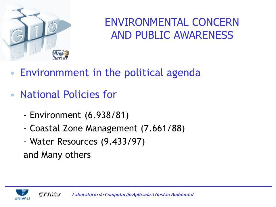 Laboratório de Computação Aplicada à Gestão Ambiental ENVIRONMENTAL CONCERN AND PUBLIC AWARENESS Environmment in the political agenda National Policies for - Environment (6.938/81) - Coastal Zone Management (7.661/88) - Water Resources (9.433/97) and Many others