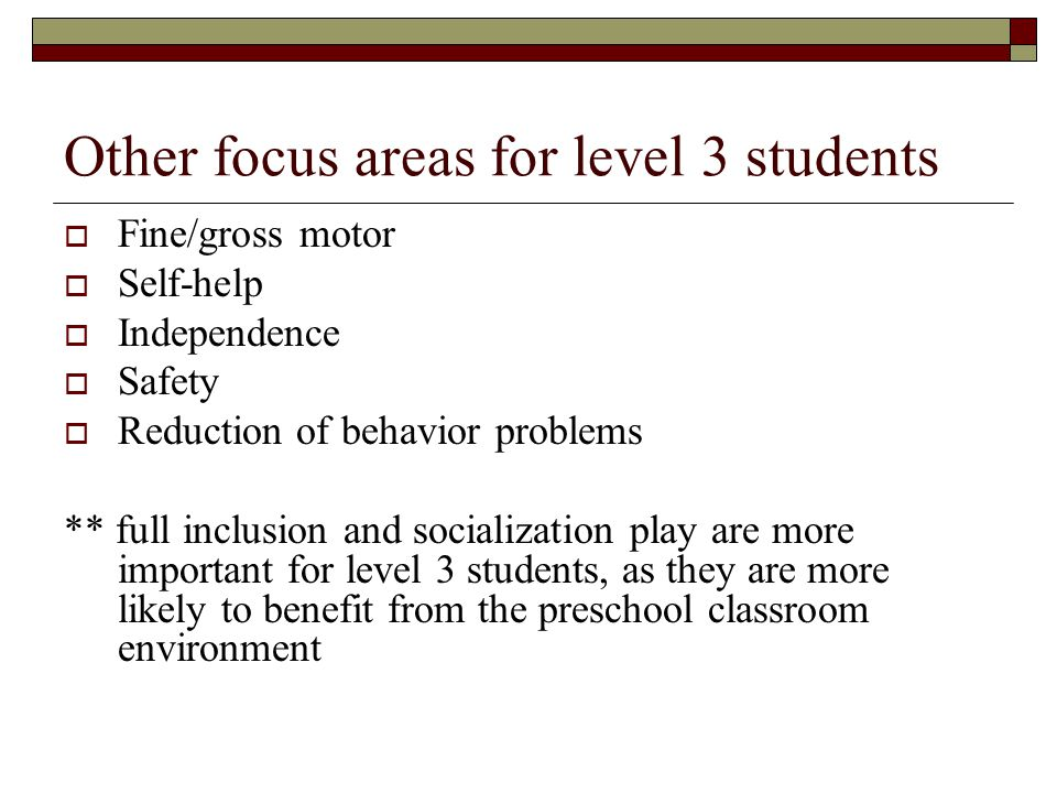 Other focus areas for level 3 students  Fine/gross motor  Self-help  Independence  Safety  Reduction of behavior problems ** full inclusion and socialization play are more important for level 3 students, as they are more likely to benefit from the preschool classroom environment