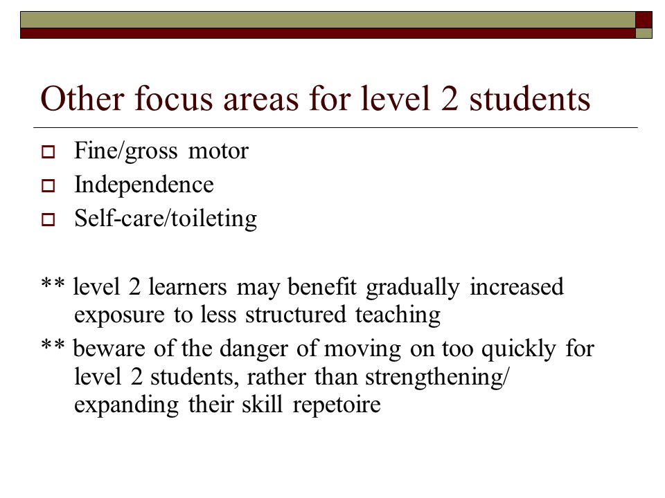 Other focus areas for level 2 students  Fine/gross motor  Independence  Self-care/toileting ** level 2 learners may benefit gradually increased exposure to less structured teaching ** beware of the danger of moving on too quickly for level 2 students, rather than strengthening/ expanding their skill repetoire